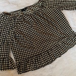 Black & White Off The Shoulder Checkered Blouse